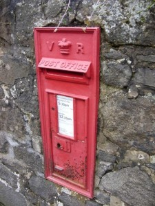 Red Postbox in wall