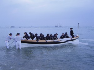 'Lord Nelson' in the mock Napoleonic sea battle by Carol Strong.