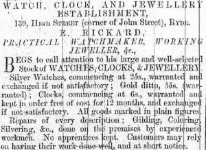 Rickard Advert  IW Observer 12 June 1869