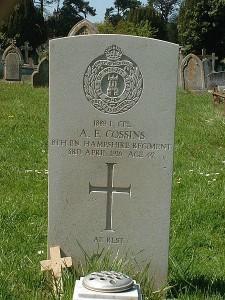 CWGC headstone Cossins WW1